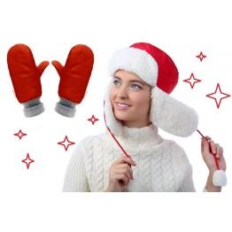 Акция! Комплект шапка-ушанка красная + рукавицы двойные красные