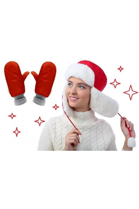 Комплект шапка-ушанка красная + рукавицы двойные красные