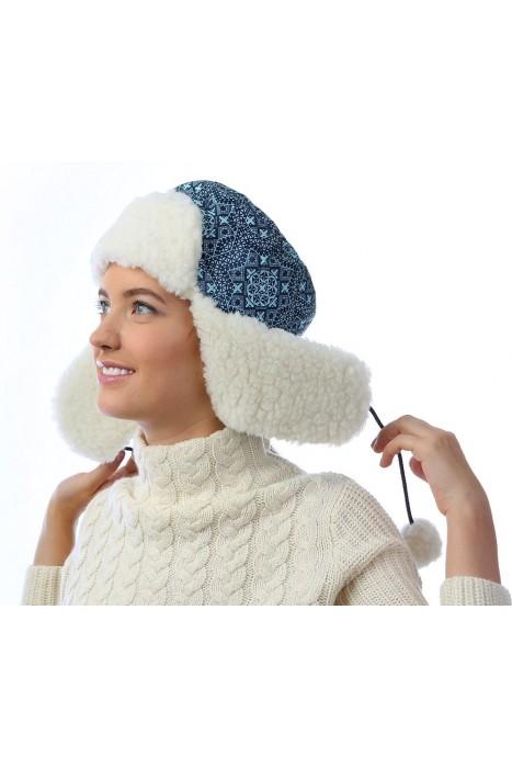 Шапка-ушанка принт мозаика синяя