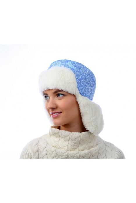 Шапка ушанка принт снежинка синяя