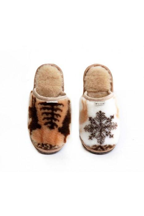 """Тапочки из шерсти """"Север"""" принт ёлка / принт снежинка"""