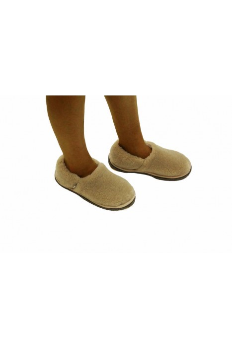 Тапочки-туфли из шерсти бежевые