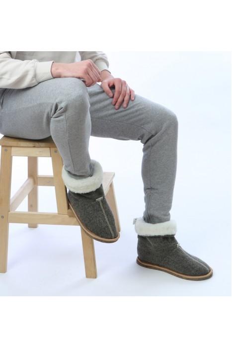 Тапочки-сапожки из шерсти серый