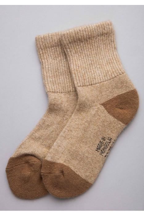 Носки из монгольской шерсти бежевые