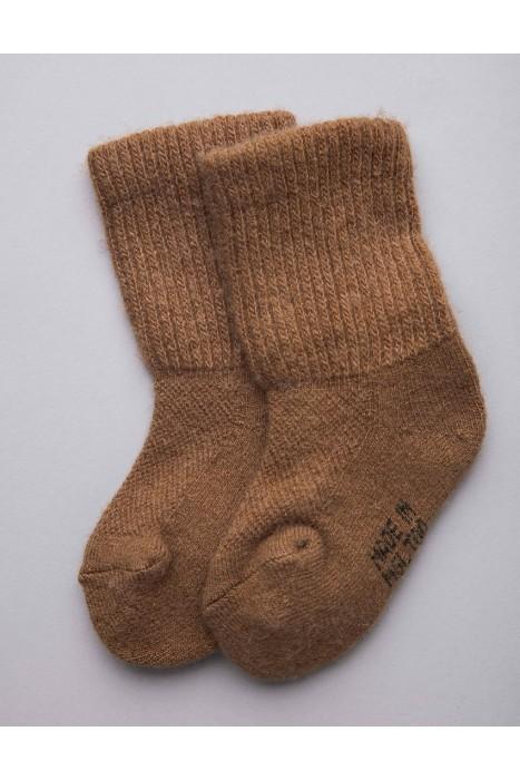 Детские носки из монгольской шерсти коричневые