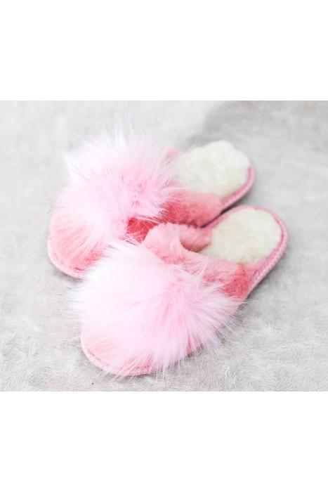 Тапочки из овчины женские с помпоном розовые