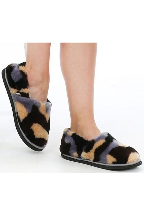 Тапочки-туфли из шерсти камуфляж серый