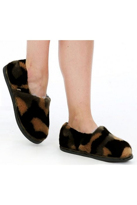 Тапочки-туфли из шерсти камуфляж коричневый