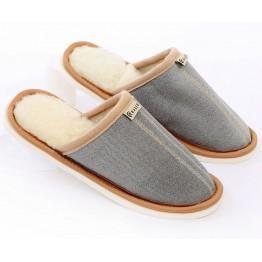 Тапочки из шерсти МАКО светлый серый