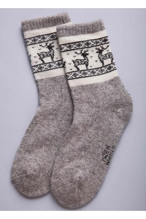 Носки из 100% монгольской шерсти серые с рисунком