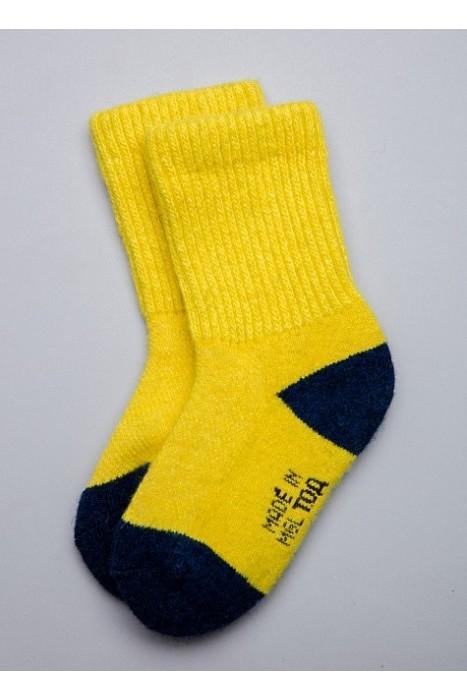 Детские носки из монгольской шерсти желтые с синим