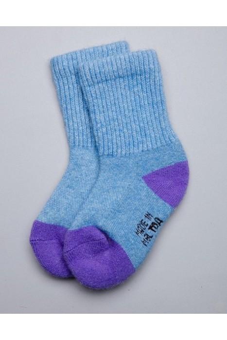 Детские носки из монгольской шерсти голубые с сиреневым