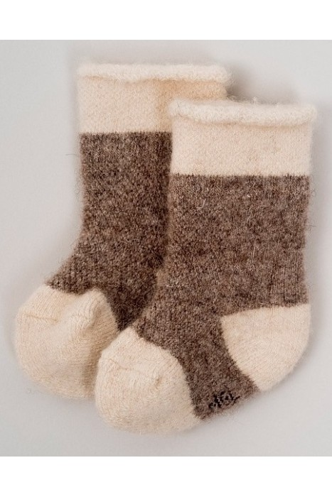 Детские носки из 100% монгольской шерсти цвет - светлый