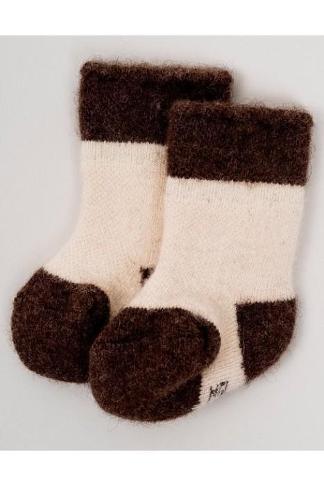 Детские носки из 100% монгольской шерсти цвет - коричневый