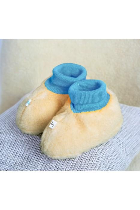 Пинетки-носочки из шерсти / голубой