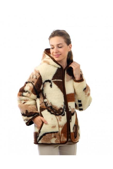 Куртка из шерсти КАТАРИНА принт облегченная