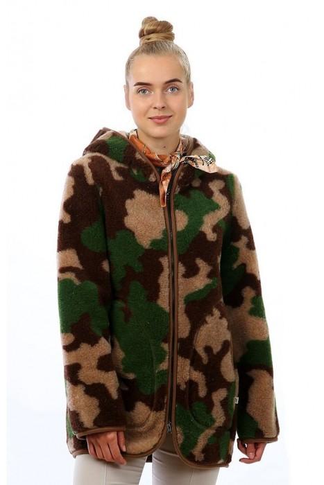 Куртка-ветровка из шерсти (облегченная) КАТАРИНА камуфляж зеленый