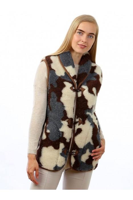 Жилет из овечьей шерсти тара с воротником камуфляж серый