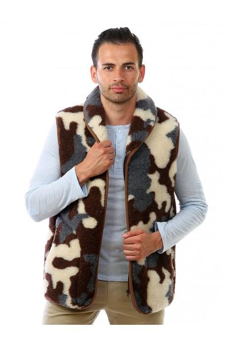 Жилет из овечьей шерсти НЭКС с воротником камуфляж серый